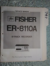 Fisher ER-8110A service manual original repair book stereo 8 track tape recorder