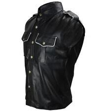 Pelle Polizia Uniforme da Uomo Vera Camicia Nera Bluf Gay Pecora Agnello ( Ps-Sl