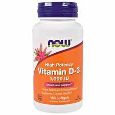 Now Foods, la vitamina D-3 de alta potencia, 1,000 UI, 180 cápsulas de caducidad 03/2023