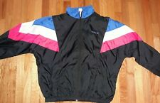 ADIDAS TRACKSUIT VINTAGE 80s LINED BLACK WITH MIAMI RETRO STRIPE GENTLY USED S/L