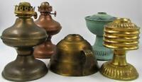 Antique Lot 5 Metal Tin Brass Miniature Oil Kerosene Lamps Assorted - As Shown
