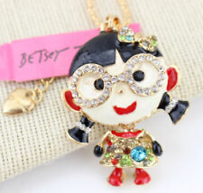 Betsey Johnson Crystal Girl Glasses Gold Pendant Chain Necklace Free Gift Bag