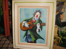 Superb Clown Painting Oil On Canvas-Signed A. Ramsey-Clown Playing Guitar-LQQK