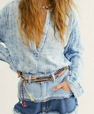 Free People Anguilla Washed Pullover - Faux Flower Blue - Size: XS  (WY124)