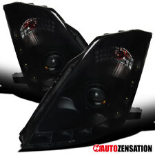FIT Nissan 06-09 350Z HID Type Black Smoke w/ LED DRL Strip Projector Headlights