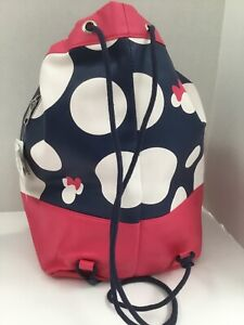 DISNEY PARKS Minnie Mouse DOTS Drawstring Backpack Duffel Purse Faux Leather NWT