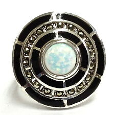 ART DECO WHITE GILSON OPAL ONYX MARCASITE RING 925 STERLING SILVER - SIZE 7