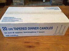 100 WHITE DINNER CANDLES, 20cm LENGTH, TAPERED