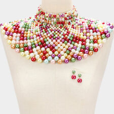 LUXE SPECTACULAR Statement Gold Multi Pearl Choker Cape Necklace Rocks Boutique