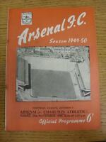 19/11/1949 Arsenal v Charlton Athletic  (team changes, writing on covers, rusty