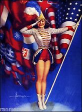 1940s Pin-Up Girl Majorette American Picture Poster Print Art Vintage Pin Up