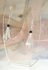 Pretty Tear Drop Dangle Pierced Earrings Jet Black Crystal Facet Bicone Bead