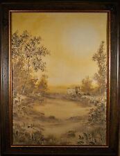 Beautiful Mid Century Oil Painting of Western Landscape, Monotone, Signed Mario!