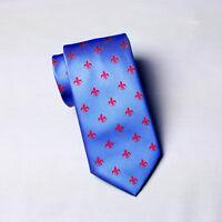 New Blue & Red Italian Fleur-De-Lis Tie Hot Light Blue Floral Crest Mens 8cm Tie
