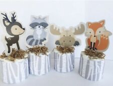 Woodland Diaper Cakes Set, Baby Shower Decorations, Forest Animals