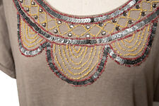 The Territory Ahead Sequin Beaded Casual Tunic Brown Dress Keyenta Knit NEW w/ta