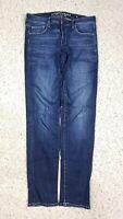 American Eagle Women's Skinny Super Stretch Dark Distressed Wash Jeans Sz 8 Long
