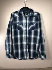 JEANS by BUFFALO Button Down Blue  /Black  L/S Plaid Casual Shirt Size M