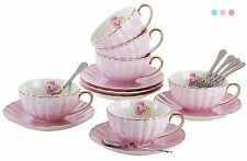 Jusalpha® Elegant Tea Cup with Saucer and Spoon Set- Coffee Cup Set TCS04