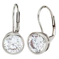 Ohrringe Ohrhänger Ohrschmuck Brisur mit 2 Zirkonia weiß 925 Silber Damen