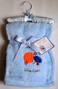 Baby Boy Blanket Throw Blue Fleece Basketball Baseball 30 x 40 Infant Gift