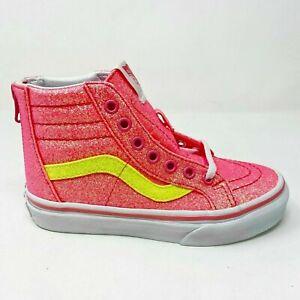 VANS SK8-HI Zip Neon Glitter Toddler Shoes - Pink/True White VN0A4BV1WHJ