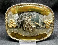 CALF ROPING Belt BUCKLE Western Rodeo Trophy Rectanglular GERMAN SILVER and Gold