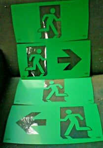 4 x GREEN  PERSPEX EXIT SIGNS 32 X 16 CM FREE POST