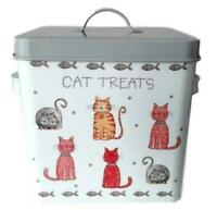 CAT Treats Food Storage Container Holder Biscuits Barrel Tin Jar Box Lid Treat