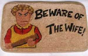 Coir Doormat.Beware of the Wife. Rubber Backed Deluxe  Quality