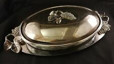 GODINGER COVERED CASSEROLE DISH  UNDER TRAY  3PC.SILVER PLATED 3 QT.GRAPE OVAL