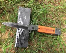 New SOG Wood Handle 440C Blade Spring Assisted Opening Pocket Knife 931