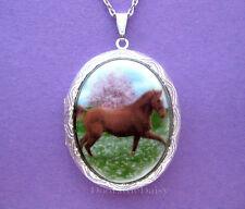 Pretty Porcelain SADDLEBRED HORSE CAMEO Costume Jewelry Locket Pendant Necklace