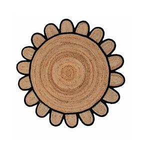 Rug 100% Natural Jute Braided Style Area Rug Home Decor Living Modern Carpet