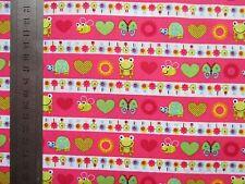 Reststück 2m Baumwollstoff Bordürendruck Tiere/Blumen pink Rest