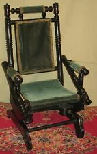 ANTIQUE CHILD'S DOLL EBONIZED PLATFORM ROCKER 1875-1880 OLD GREEN VELVET