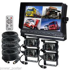 """10.1"""" Quad Monitor Split screen 4PIN CCD Reversing Camera 12V 24V 4 Package Kit"""