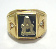 """VINTAGE 18K GE """"A"""" INITIAL RING BLACK GLASS CLEAR STONE SIZE 9 SYBOLL"""