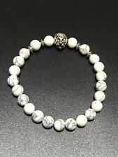 Unisex White Turquoise Jewellery Silver Lion Head Protection Meditation Bracelet
