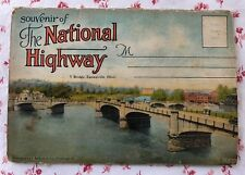 """Vintage UNUSED Fold-Out Postcard 16 Views """"Souvenir of the National Highway"""""""
