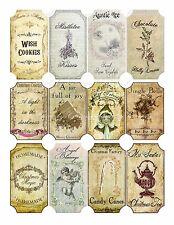 Vintage inspired Christmas 12 bottle label stickers scrapbooking decoration