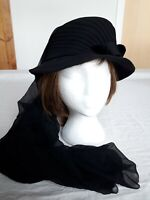 Vintage French Black Funeral Hat and Long Chiffon Veil Edwardian Mourning Ladies
