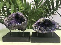 "4""-6"" Large Purple Geode Pair Open Crystal Geode Quartz Specimen Morocco Geode."