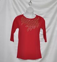 Quacker Factory Sparkle & Shine Diagonal Spray Tunic Size S Ruby Red