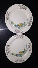 2 Homer Laughlin White with Yellow & Blue Daisies Gold Design Rim Bread Plates