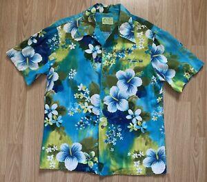 VINTAGE UI MAIKAI COTTON TIKI FLORAL HAWAIIAN SHIRT BLUE GREEN LARGE