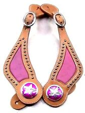 Otts Natural doubled leather faux ostrich pink spur straps horse tack equine