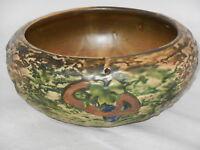 "Antique 1916 Roseville Imperial 9"" Pottery Hanging Planter Bowl Maple Leaf"