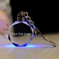LED Cut Glass Keychain Car Logo Keyring Key Holder for Audi VW Ford BMW Welcome