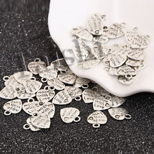 DIY 50 pcs 9x10mm Silver Colored Made with Love Heart Charm Metal Pendant Beads